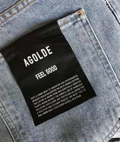 Happy At AGOLDE, we are committed to being innovative and thoughtful in how we make our denim. Head to our story to take a look behind the Eco-friendly and socially conscious, FEEL GOOD collection. Tag Design, Label Design, T Shirt Label, Swing Tags, Denim Branding, Fashion Tag, Clothing Labels, T Shirt And Jeans, Instagram Shop