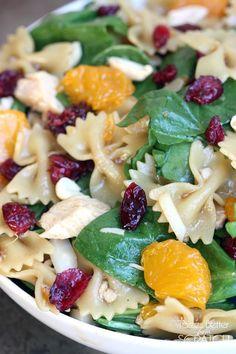 Spinach, Chicken, Bowtie Pasta Salad with Teriyaki Viniagrette