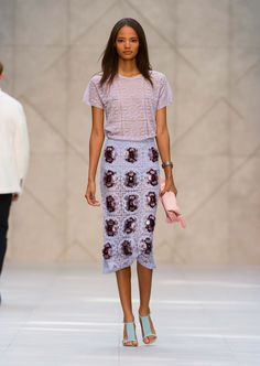 Lavender English lace pencil skirt with The Britain watch in purple sapphires - The Burberry Prorsum S/S14 Collection