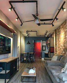 La imagen puede contener: tabla e interior Home Living Room, Interior Design Living Room, Living Room Designs, Light In, Cool Apartments, Luxury Homes Interior, Industrial House, House Design, Decoration