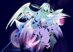 Angels. Sariel (left), Gabriel (right), and Lucifer (middle).