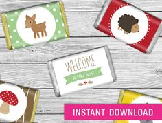 Printable Mini Candy Wrappers Woodland baby by PurdyPrintsNYC