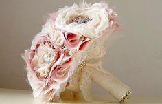 Wedding Brooch Bouquet,  Fabric Flower Bouquet,  Fabric Bridal Bouquet, Weddings, Vintage Wedding on Etsy, $300.00