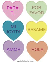 DIY Conversation Heart Banner ... Now in Spanish! | Hello Little Home #ValentinesDay #FreePrintable
