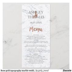 Rose gold typography marble wedding menu Rose Wedding, Chic Wedding, Elegant Wedding, Wedding Dinner Menu, Rose Gold Brushes, Chocolate Chip Cake, Wedding Desserts, Zazzle Invitations, Invites