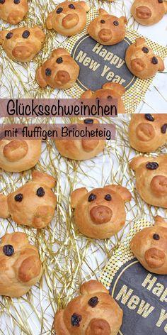 Glücksschweinchen aus Briocheteig. Die einen verschenken zum neuen Jahr eine Neujahrsbrezel, die anderen einfach ein kleines Glücksschweinchen aus Briocheteig. Das kleine Gebäck ist ganz einfach nachzubacken und erfreut garantiert groß und klein. #glücksschweinchen #silvester #backen #briocheteig #glücksschweinchenbacken