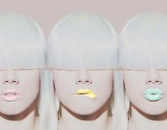 White hair. Pastel lips.