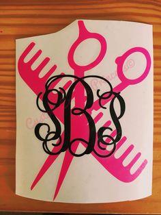 Diy Vinyl Projects, Vinyl Crafts, Monogram Stickers, Diy Monogram, Cricut Vinyl, Vinyl Decals, Salon Signs, Hairdressers, Silhouette Cameo Projects