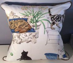 **KRAVET COUTURE Feline & Robert Allen Animal Print Fabric Custom Made Pillow
