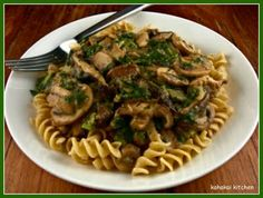 Vegan Mushroom Stroganoff.  Just made this recipe for this week's lunches.  I used almond milk for the non-dairy milk substitute.  Came out great!