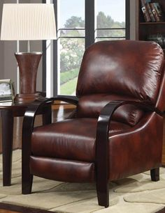 leather recliner with wooden arms - Small Leather Recliners