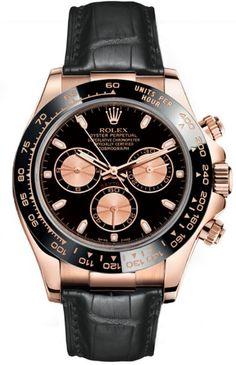Rolex Everose Daytona 116515 Black Dial Case:18k Rose Gold