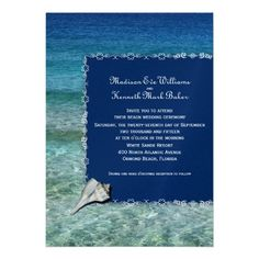 Crystal Water and dark blue, with a realistic looking lightning whelk shell for your tropical, destination #wedding!