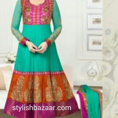 Latest stylish  dress - Todays indian fashion trend - Long floor length Anarkali suit.