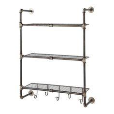 antiqued metal wall shelf unit W 68cm | Maisons du Monde