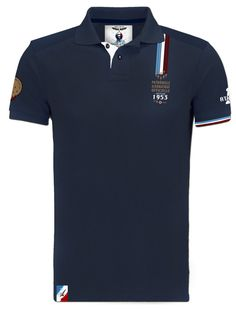 patrouille-de-france-polo-n1-made-in-france-barnstormer T Shirt Polo, Mens Polo T Shirts, Sports Shirts, Shirt Men, Le Polo, T Shorts, Emporio Armani, Casual Shirts, Sportswear