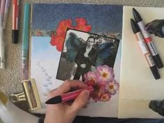 working in my collage journal - YouTube