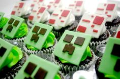 Minecraft Cupcakes (detail) Minecraft Cupcakes, Bake Sale, Let Them Eat Cake, Cake Pops, Cake Decorating, Food And Drink, Cooking Recipes, Party Ideas, Kid