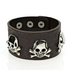 Womens or Mens Skull Leather Bracelet, Silver and Brown WHH001 http://www.amazon.com/dp/B00X6GGT1O/ref=cm_sw_r_pi_dp_qnSFvb0BQNH0W