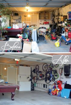 Before/After of garage organized with professional organizer @Ashley Walters @ Design Build Love  | OrganizingMadeFun.com