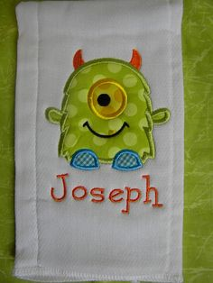 Custom boutique MONSTER baby boy Burp Cloth by CarlieAnnaBoutique, $7.99