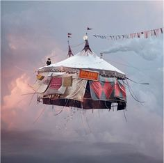Flying House 1 by French photographer Laurent Chehere. The Flying Houses series are on show until 8th December at the Galerie Paris-Beijing, 54 rue Vertbois, Paris 3ème