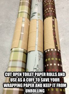Empty paper towel or toilet paper roll to keep wrapping paper rolled up!