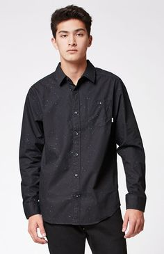 Brixton Central Navy Long Sleeve Button Up Shirt | Shirts, Up ...