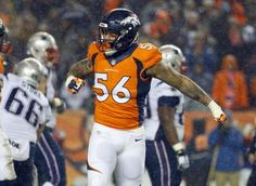 Denver Broncos linebacker Shane Ray (56) celebrates during the second half of an NFL football game against the New England Patriots, Sunday, Nov. 29, 2015, in Denver. The Broncos defeated the Patriots 30-24. (AP Photo/Jack Dempsey)