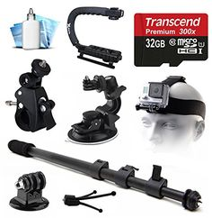 Selfie Self Shot Pole Stick Monopod + Car Cup Suction Mount + Bike Handlebar Clamp Mount + Tripod Adapter + 32GB MicroSD Card + Opteka xGrip Action Handle Stabilizer + Dust Removal Cleaning Care Kit for GoPro Hero4 Hero3+ Hero3 Hero2 Hero 4 3+ 3 2 1 Camera Camcorder