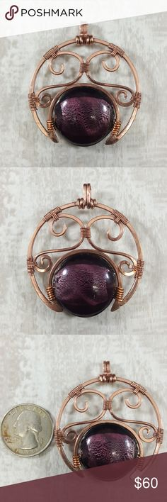 """""""Purple Crescent"""" Copper Pendant Purple Foil Bead This is our """"Purple Crescent"""" moon shapped Copper pendant. The beautiful purple Glass bead has a pretty siver foil work center. Add your favorite chain, and this pendant is ready to shine!  • Handmade purple foil bead with handmade copper wire wrapping. • Diameter 2 inches. • Comes in a jewlery gift box.  • Perfect for gifts!   ❤️Visit my website www.DGwiring.com❤️ DGwiring Jewelry Necklaces"""
