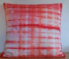 "Hand dyed Pillowcase ""Peach meets Cerise"""