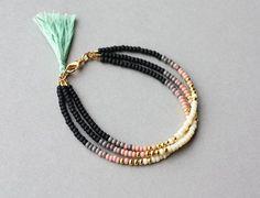 Beaded Friendship Bracelet - Pink Multi Strand Seed Bead Friendship Bracelet with Mint Tassel, Gift for Her