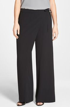 Eileen Fisher Wrap Front Wide Leg Silk Pants available at #Nordstrom