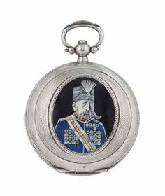 AN ENAMELLED SILVER POCKET WATCH -  PERRET & FILS, BRENETS, SWITZERLAND, DATED 1843 AD -  Key wound jeweled cylinder movement, Roman numerals, polychrome enamel flower design on the dial, hinged case enamelled with the portrait of the Qajar ruler Muzaffar al-Din Shah (r. 1896-1907), with key, the case with silver marks (number 243847 ) 23in. (5cm.) diam.