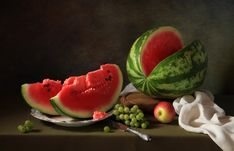 Still life with watermelon and grapes by Татьяна Скороход