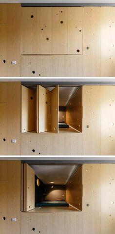 Falttüren Aus Eschenholz Für Clevere Raumteilung In Einer Einzimmerwohnung  #clevere #einer #einzimmerwohnung #