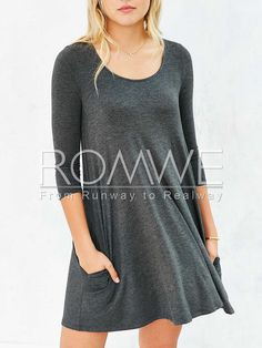 Grey Long Sleeve Pockets Dress Mobile Site