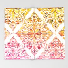 Throw Blanket featuring Sunset Art Nouveau Watercolor Doodle by Micklyn