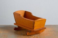 Vintage Miniature Wooden Cradle for Small Dolls