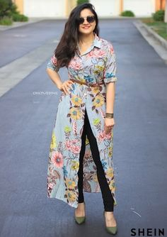 Something about slitted outfits! I am crazy about slitted dresses! Besides how fun is this is for summer. I am loving the big florals on… Casual Indian Fashion, Indian Fashion Dresses, Indian Designer Outfits, Fashion Outfits, Nigerian Fashion, Long Dress Design, Stylish Dress Designs, Stylish Dresses, Stylish Outfits