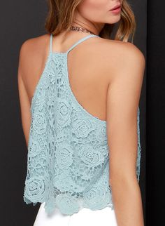 SheIn offers Blue Spaghetti Strap Lace Cami Top & more to fit your fashionable needs. Lace Crop Tops, Cami Tops, Trendy Fashion, Girl Fashion, Mode Crochet, Lace Vest, Couture Tops, Blue Lace, Cute Outfits