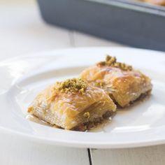 Pistachio Baklava with Orange Blossom Simple Syrup.