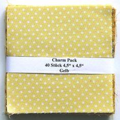 """asc-010-601040 x (4,5"""" x 4,5"""" - ~ 11,43 cm x 11,43 cm) Charm Pack - 40 gelbe Basics, 20 verschiedene Stoffe, jeweils zweimal - Stoffzusammenstellung variiert"""