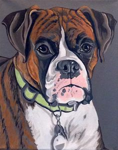 """Hand Painted Custom Dog Portrait in Acrylic 11""""x14"""" from photograph, pet lover gift, memorial portrait by PetPortraitsbyHolly on Etsy"""