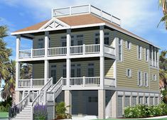 The Porches Cottage with a Roof Deck allows you to have ocean views without the ocean-front price.  This house plan can be purchased at www.southerncottages.com