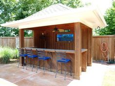 Simple idea, possibly enclose the sides, add door. Tiki bar with outdoor TV
