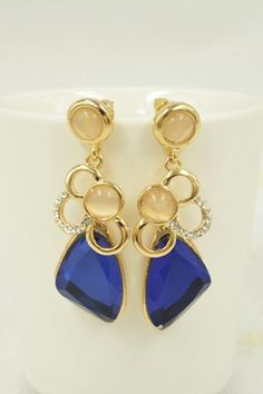 Sapphire Blue + Crystal + Gold Metal Earrings! Love this Color! #sapphire #Blue #Rhinestone #Gold #Fashion #Jewelry #Earrings #Accessories