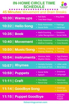 In-Home Circle Time Schedule with Purposeful Movement for Therapists, Parents and Teachers - Integrated Learning Strategies Circle Time Activities, Movement Activities, Music Activities, Social Activities, Sensory Activities, Therapy Activities, Learning Tips, Learning Styles, Toddler Learning