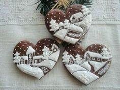 Gingerbread cookies ~ Vánoční srdíčka s chaloupkami dekorace vánoce perník vánoční ozdoba perníček